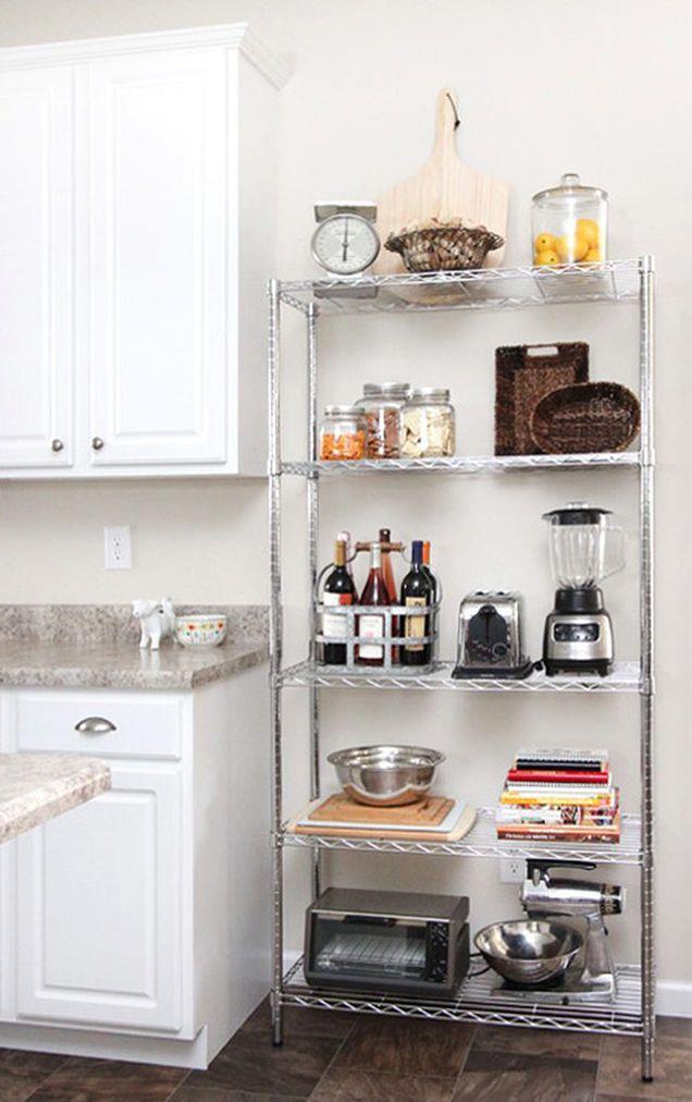 9 ideas para decorar la cocina de una vivienda en alquiler - Estanterias de cocina ...
