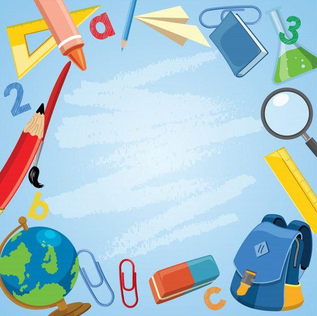 Volver al concepto de escuela con útiles escolares en dibujos animados Vector Premium