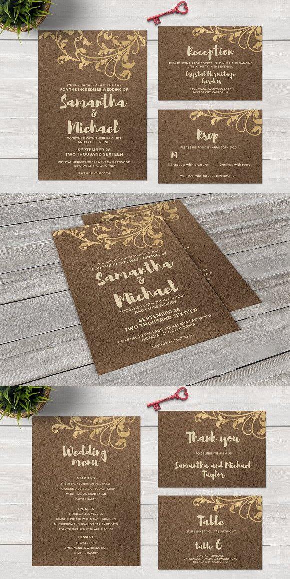 Kraft Paper And Gold Foil Invitation Foil Invitations Wedding Menu Cards Gold Foil Invitation
