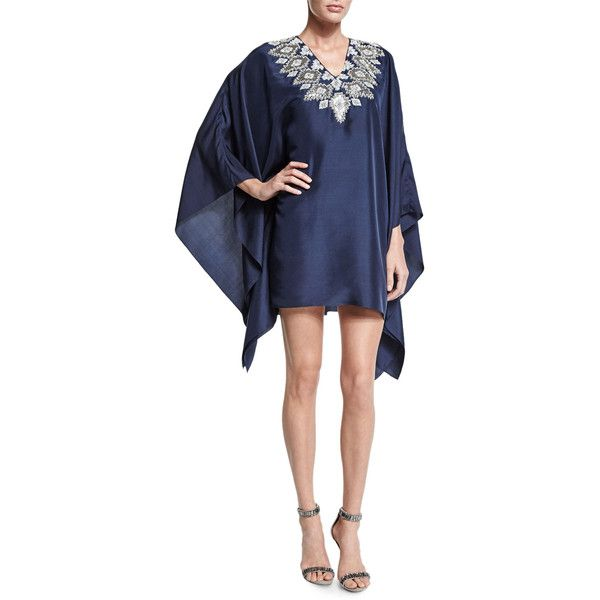Badgley Mischka Long-Sleeve Embroidered-Neck Caftan Dress (28,490 MXN) ❤ liked on Polyvore featuring dresses, navy, navy blue long sleeve dress, long sleeve silk dress, kaftan dress, blue v neck dress y blue embroidered dress
