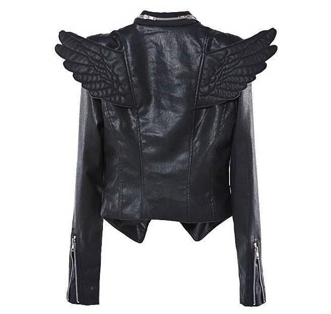 winged faux leather jacket