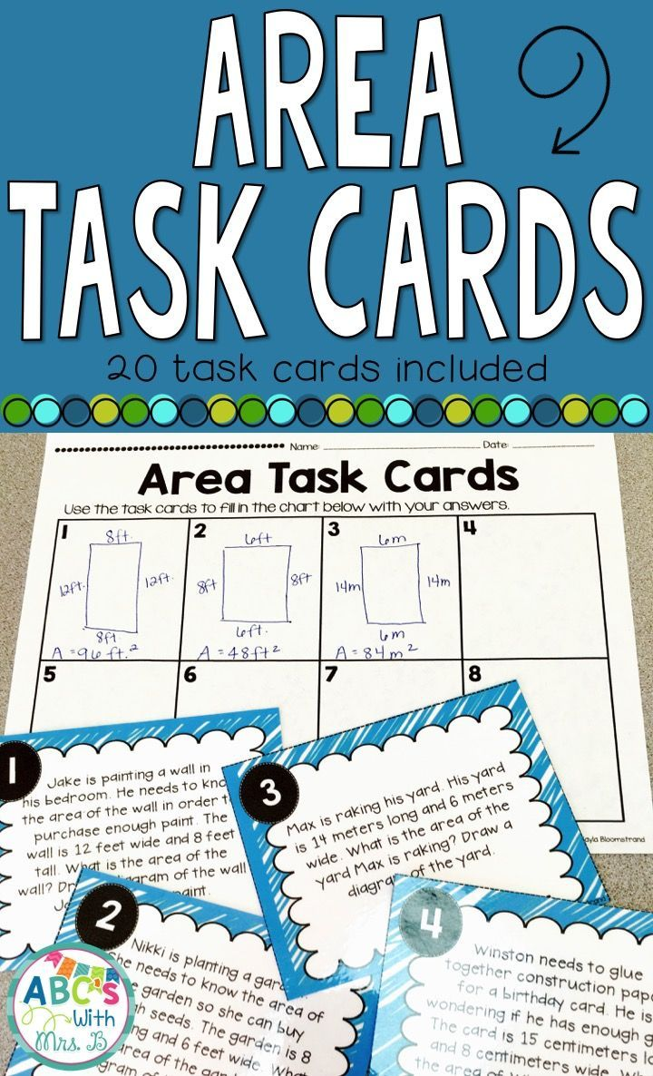 Area Task Cards: Word Problems | Word problems, Students and Math