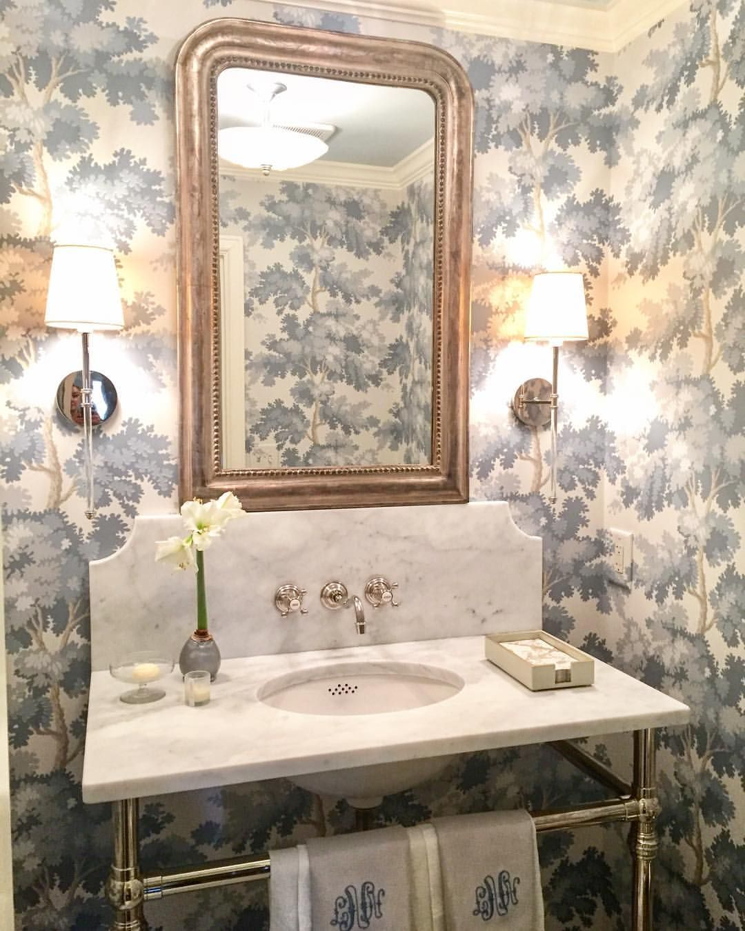 "A recently completed jewel box of a powder room, wrapped in ""Raphael"" wallpaper - our new favorite! #heatherchadduckinteriors… #modernpowderrooms"