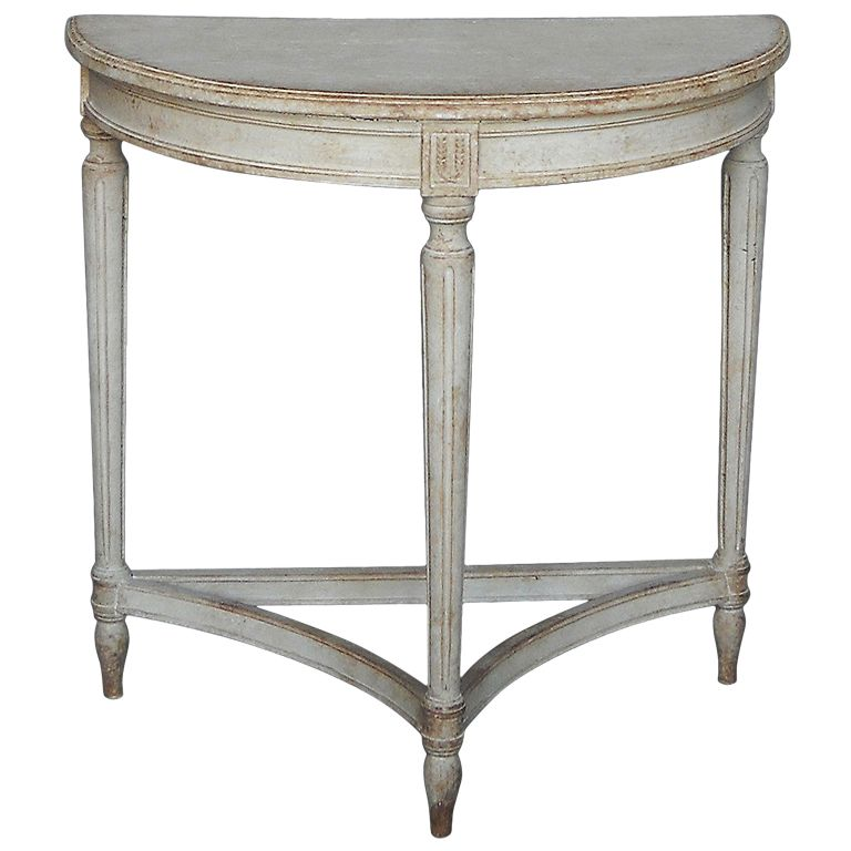 Small Gustavian Style Demilune Table From A Unique Collection Of