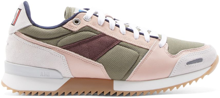 Low-top paneled suede, leather, and textile running sneakers in green, pink, brown, navy, and cream. Round toe. Cut-outs with reflective grey inserts at toe wrap and heel counter. Woven textile at toe cap, vamp, and sides. Navy trim at eyelet row. Lace-up closure in white. Embossed logo at padded tongue. Tricolor logo embroidered at suede heel collar. Colorblocked foam rubber sole in camel and white. Tread sole. Tonal stitching.