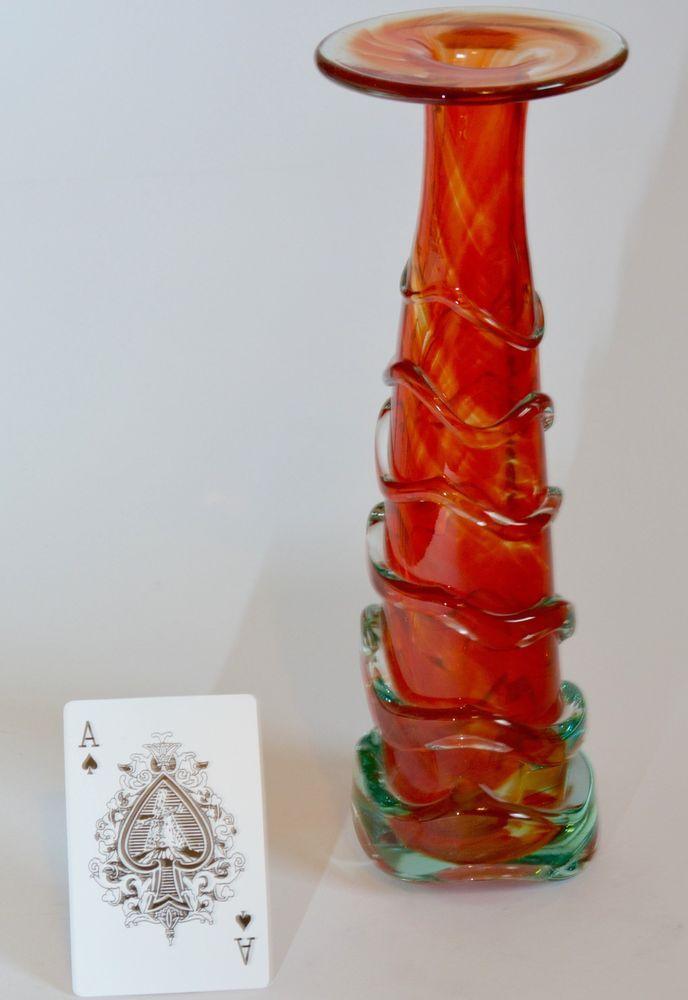 MDINA TRAILED ART GLASS ORANGE VASE HELTER SKELTER HARRIS MALTA SIGNED 26cms