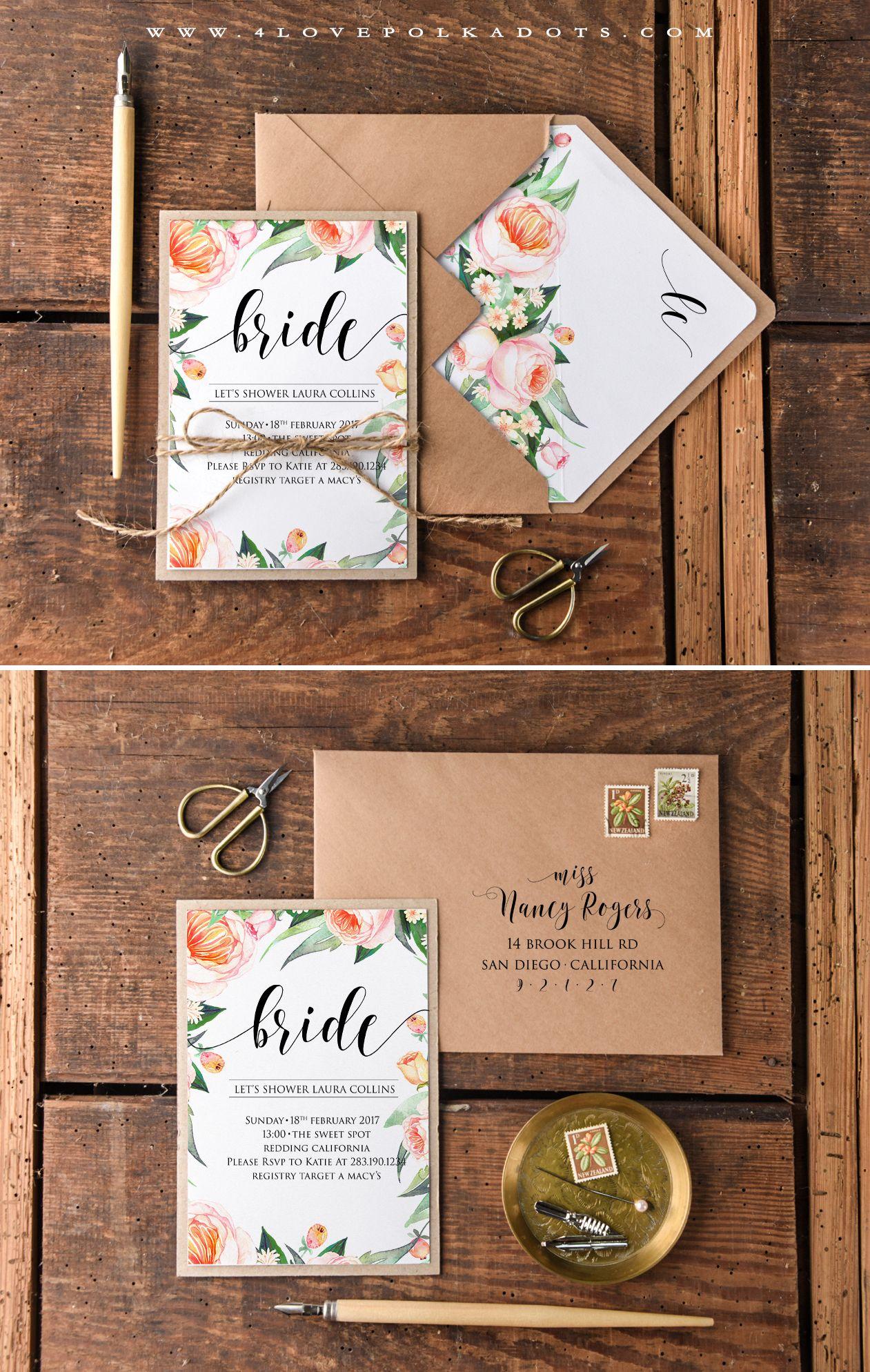 159d7e07a2e7 Eco friendly Bridal Shower Invitations with Flowers  eco  floral   bridalshower  bridetobe