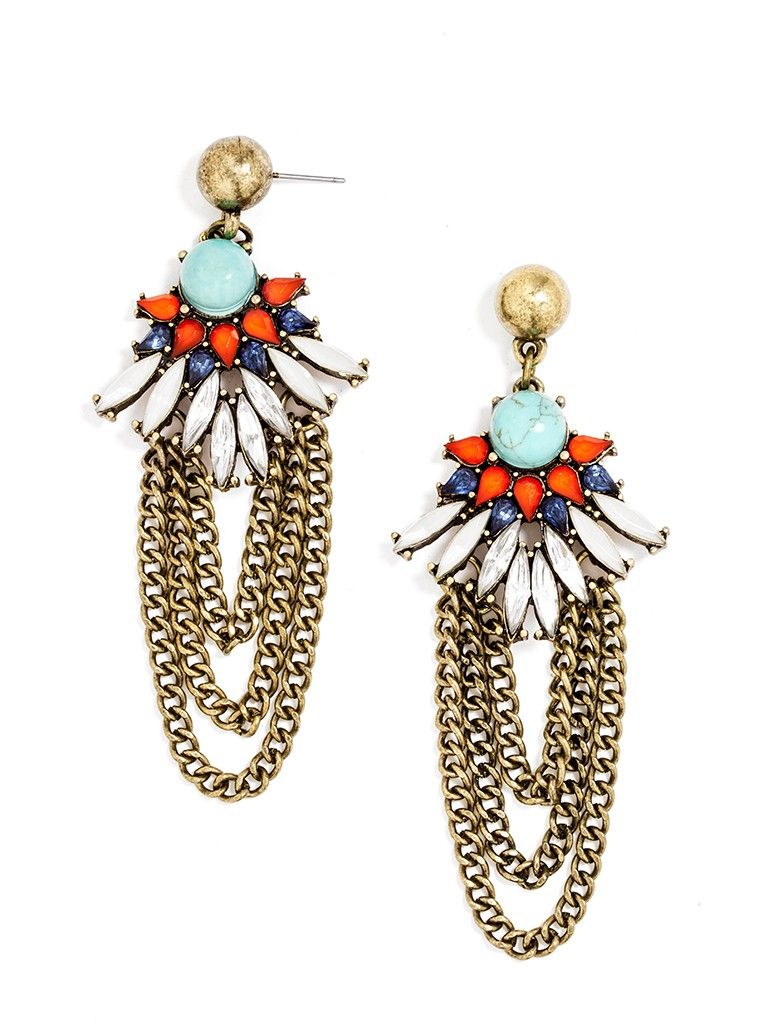 Draped metallic chains add edge to a fantastic feathered drop earring, touched with turquoise for a touch of Southwestern charm.