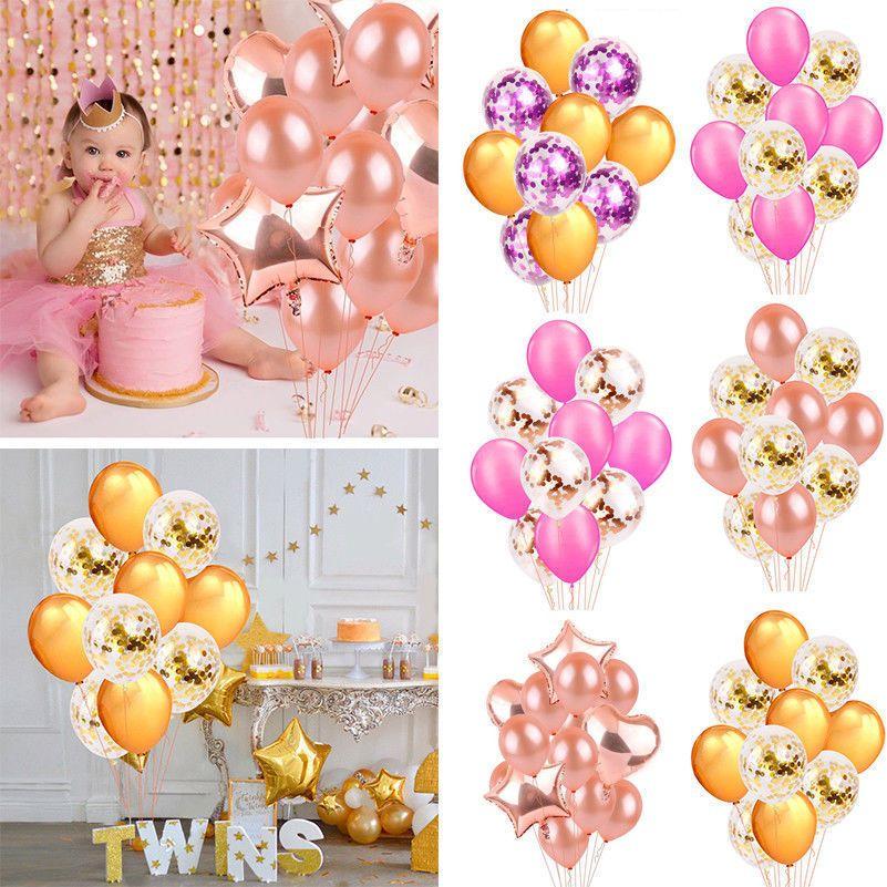 Rose Gold Foil Balloons Helium Confetti Birthday Wedding Party Love Decoration Confetti Birthday Gold Foil Balloons Birthday Party Balloon
