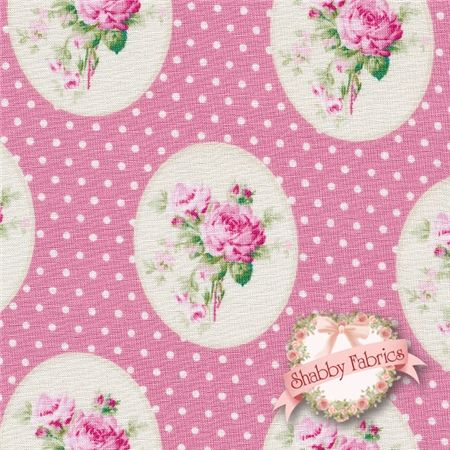 "Sunshine Roses PWTW069-PINKX Pink Oldtime Roses By Tanya Whelan For Free Spirit: Sunshine Roses is a collection by Tanya Whelan for Free Spirit. 100% cotton. 43/44"" wide.  This fabric features small pink cameo roses on a pink background with cream dots."