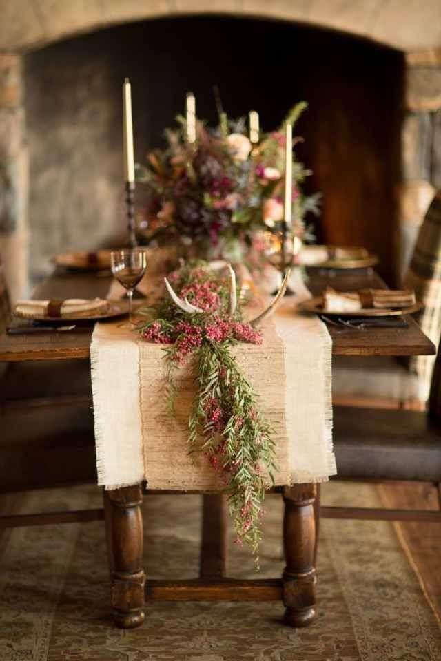 Decorazioni tavola di Natale con materiali naturali - Tavola di Natale particolare