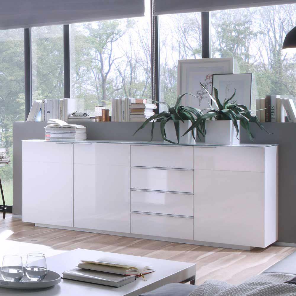 wohnzimmer sideboard in hochglanz wei glas sideboard wohnzimmerschrank kommode sidebord. Black Bedroom Furniture Sets. Home Design Ideas