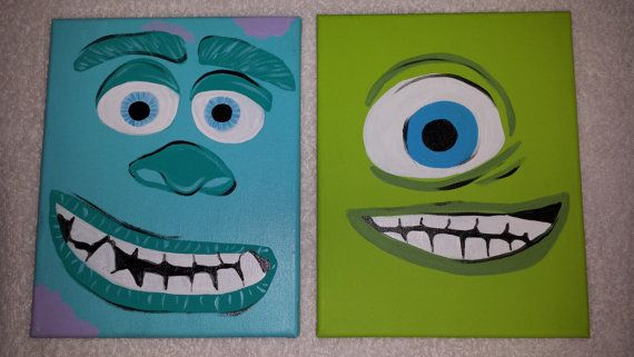 Monsters Inc Monsters Sully Mike original hand by SusansWallCandy, $50.00