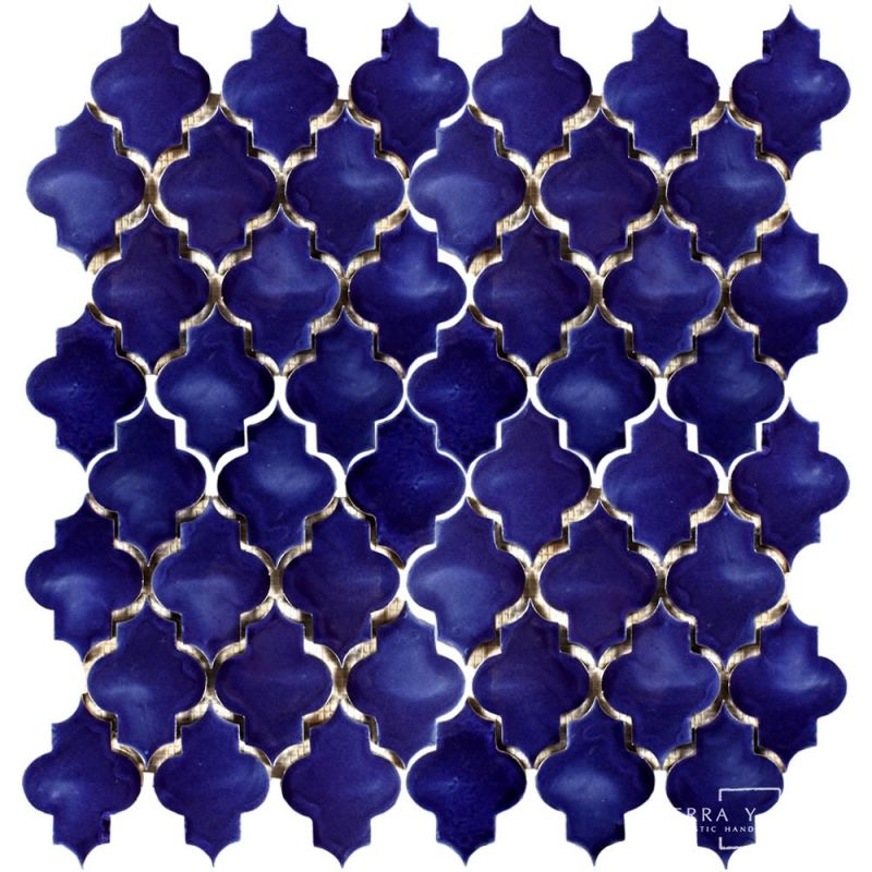 Mesh Mounted Mamounia Blue Ceramic Tiles Durable Tiles Handcrafted Ceramic Tile