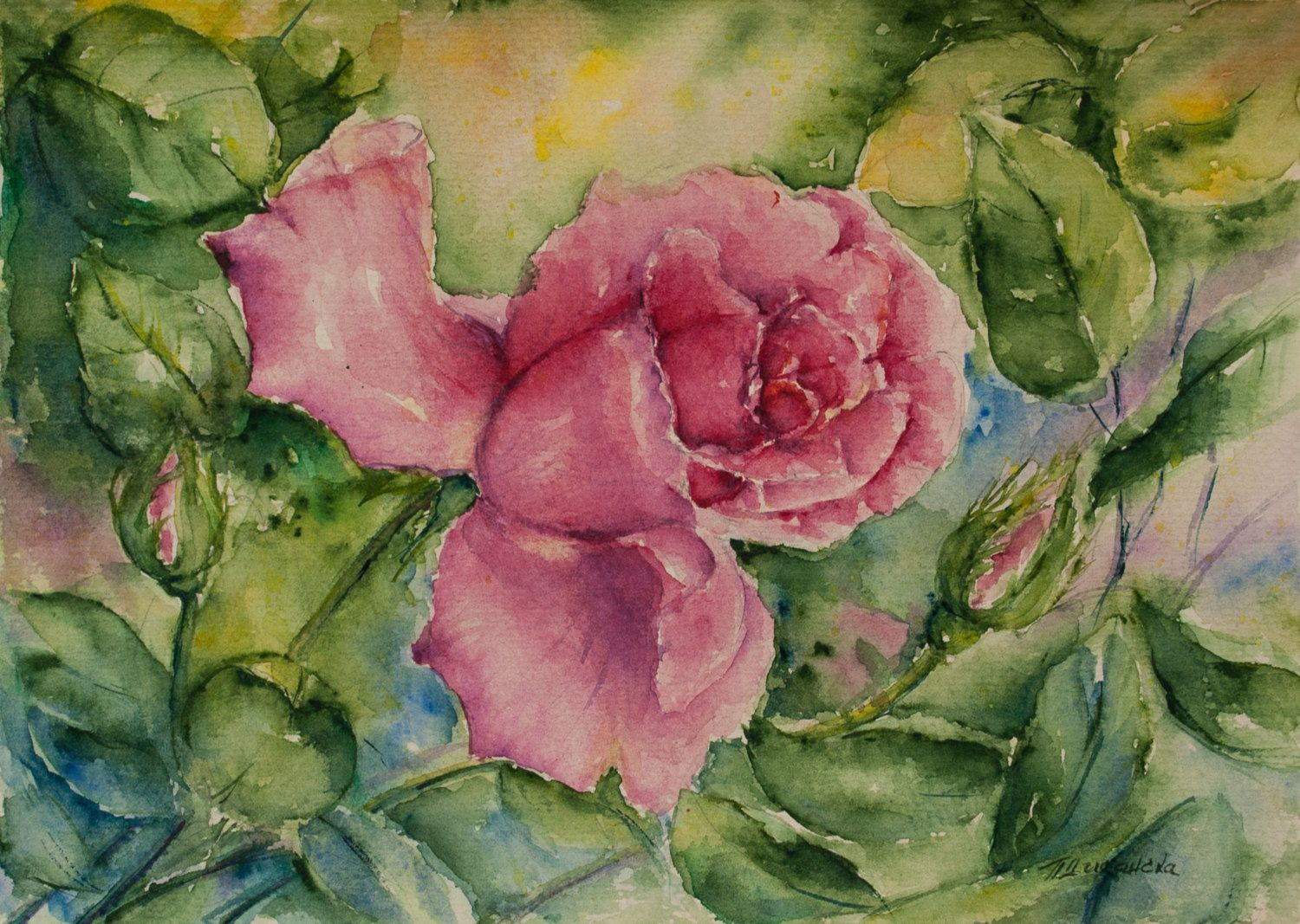 Roses Painting Gift For Wedding Aquarelle Bride Gift