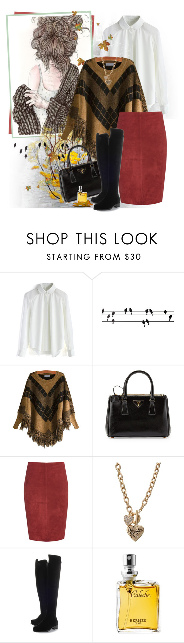 """""""Suede***"""" by ksenia-lo ❤ liked on Polyvore featuring Chicwish, ferm LIVING, Prada, Jitrois, GUESS, Stuart Weitzman and Hermès"""