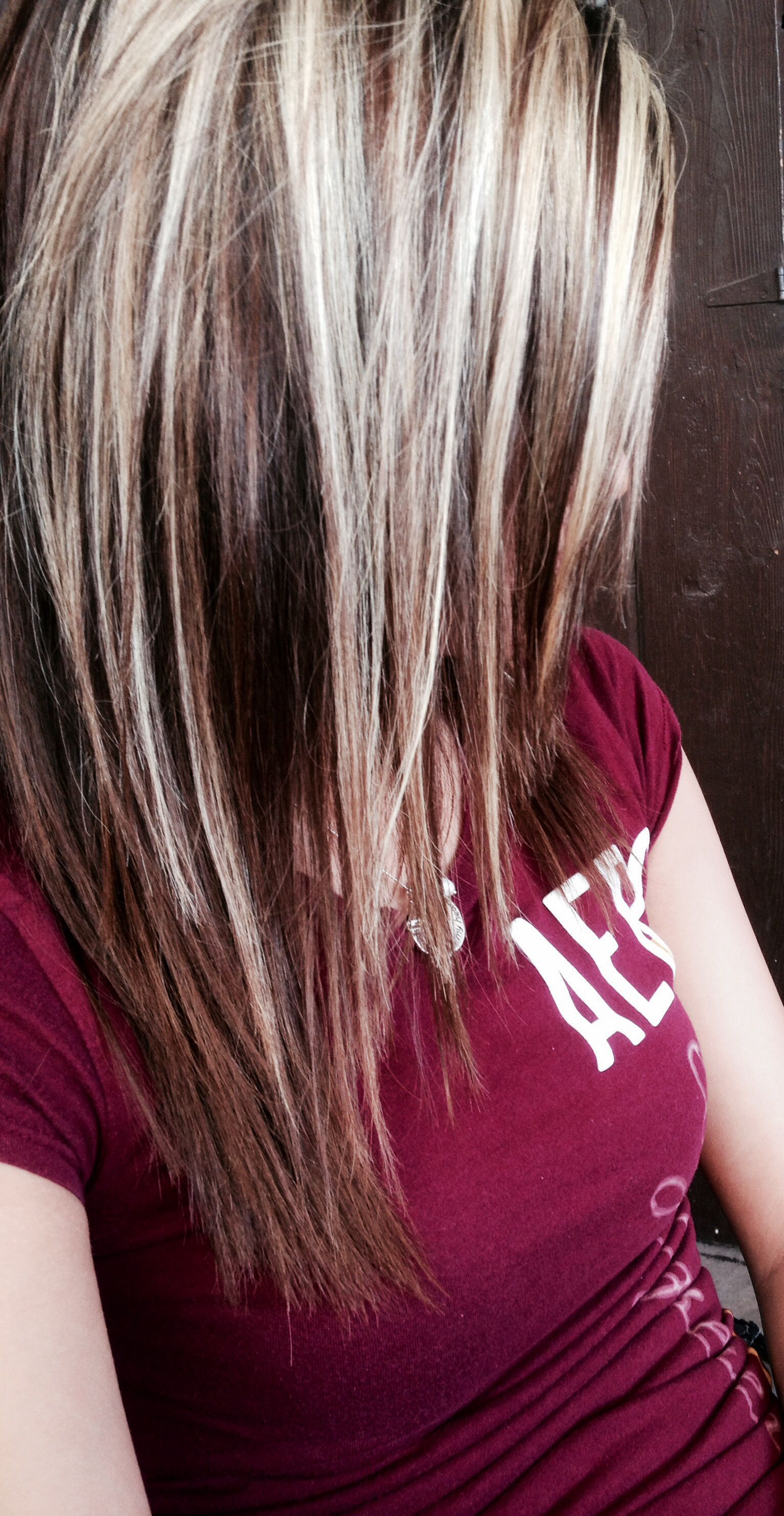 Light brown hair with platinum blonde highlights i like the cut too