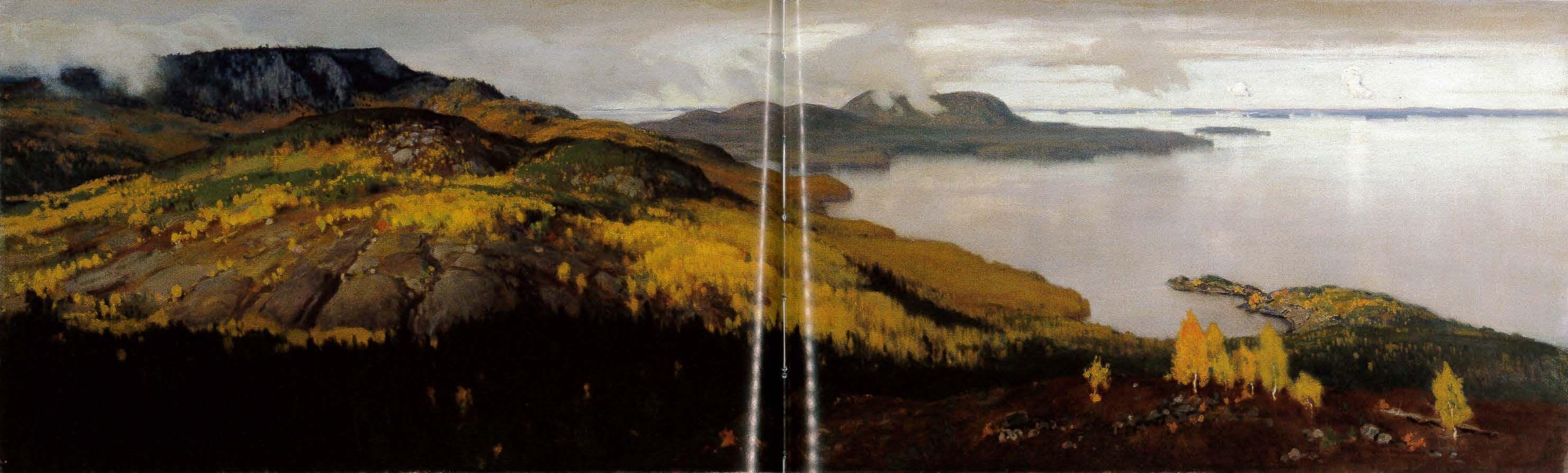 """""""Autumn Landscape from Lake Pielisjarvi"""" 1899, Eero Järnefelt -Ateneum-Eero Järnefeltin Koli-aiheisia maisemamaalauks.on suomal.taidehist.kirjoituksessa pidetty isänmaallisina,kansall.ja poliittisina kuvina.Kaikista Järnefeltin Kolilla maalaam.maisemakuv.tunnetuin on Syysmaisema Pielisjärveltä.Sen Järnefelt maalasi helmikuun manifestin vuonna 1899.Järnefelt kuvaa Koli-vaaran asumatonta puolta,syksyn värit hehkuvat.Pielisjärven vastaranta siintää kaukaisuudessa,järven peilatessa harmaana…"""