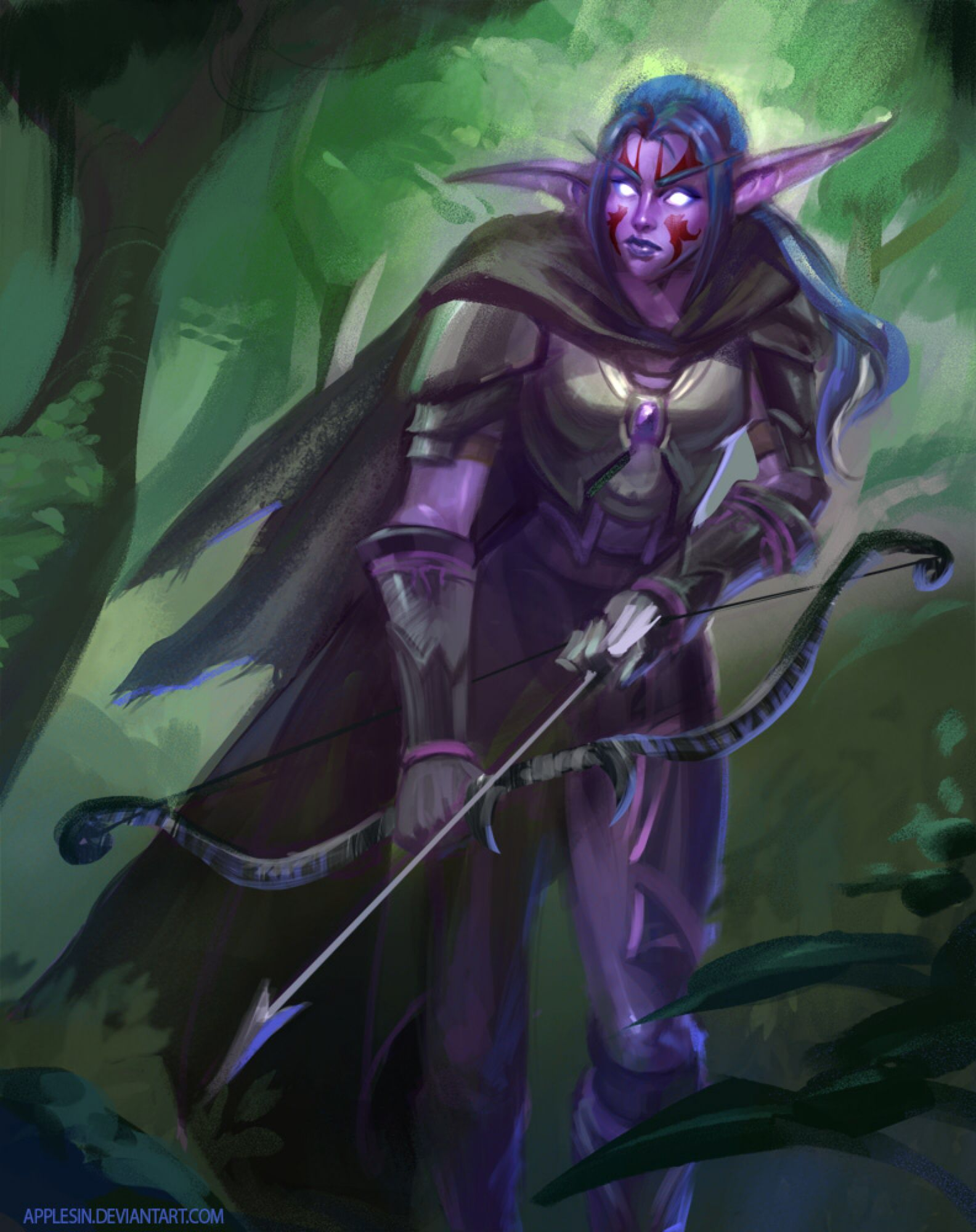 Wow Night Elf Commish By Applesin On Deviantart Night Elf Fantasy Female Warrior Elf Warrior