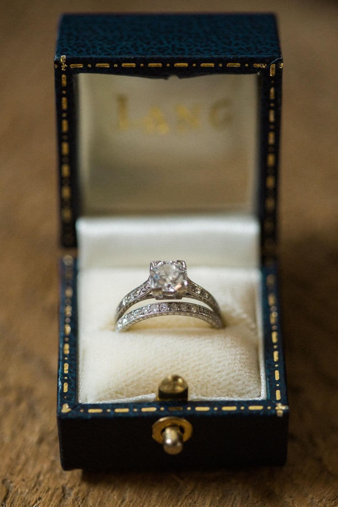 Engagement ring, wedding band, engraved band, princess cut diamond ...