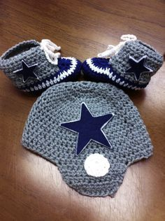 NFL Crochet Patterns Free | Crocheted Baby Football - Dallas Cowboys
