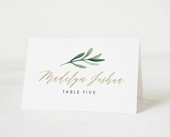 Greenery Place Cards Template Printable Wedding Place Cards - Wedding place card template word