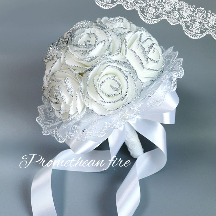 USA Pearl Sequin Bridal Bridesmaid Rose Foam Flower Handmade Wedding Bouquet