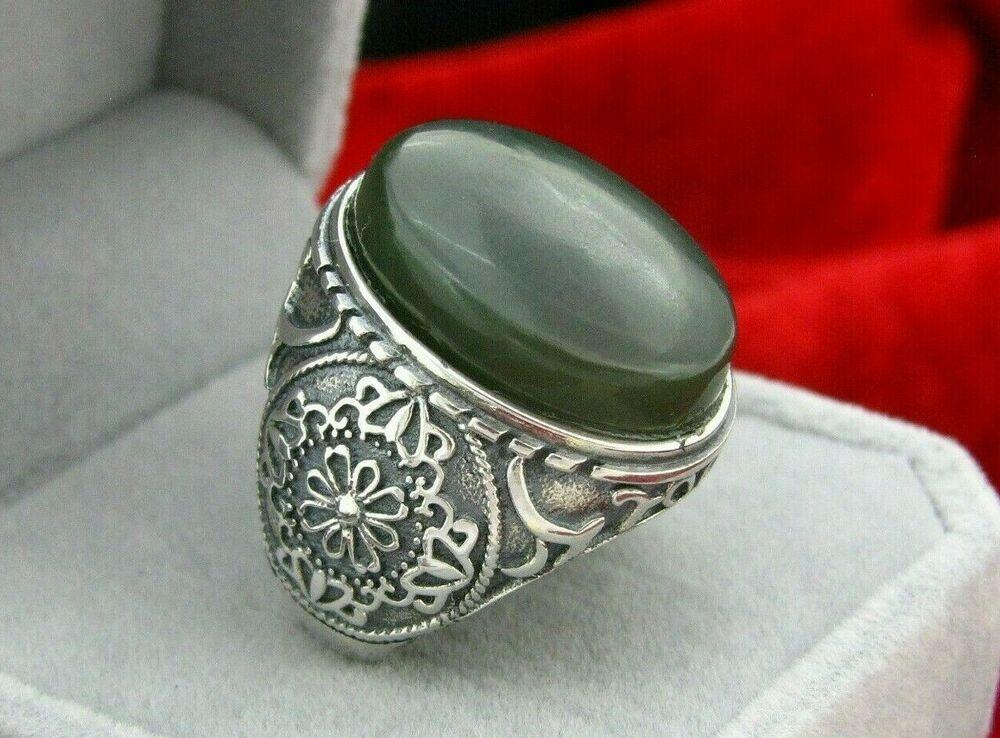 925 Ring With Genuine Yemeni Green Translucent Jade خاتم عقيق يشم اخضريمني Handmade Jewelry Rings Engagement Wedding Ring Sizes Silver Wedding Rings