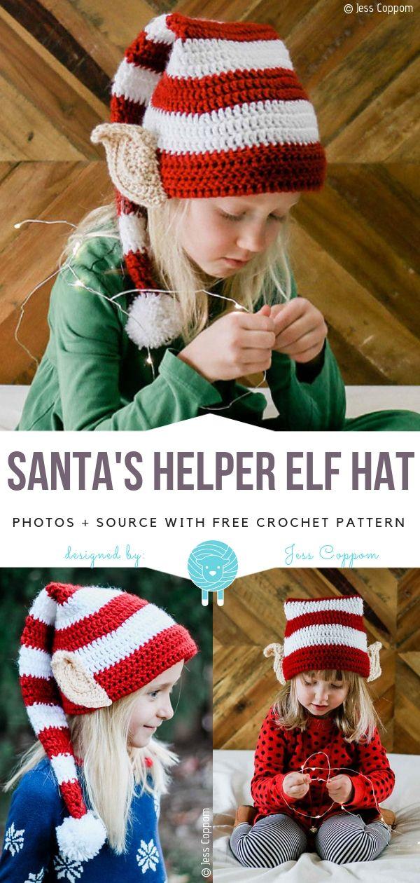 Weihnachtsmann Helfer Elf Hut häkeln Muster frei #christmascrochetpatterns
