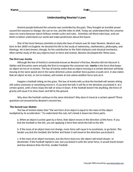 Understanding Newtons Laws Worksheet Lesson Planet Classroom