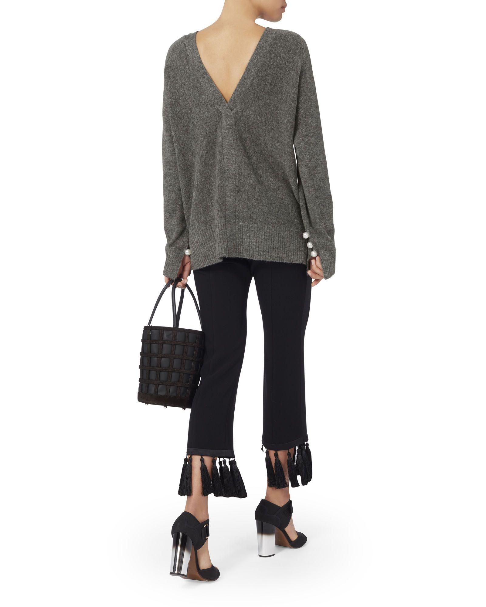 Pearl Embellished V-Back Sweater, GREY, hi-res. 3.1 Phillip Lim