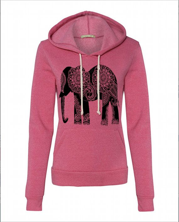 f1d7d6503 Pinning this so I can buy this tomorrow. Womens Paisley ELEPHANT Hoodie  Sweatshirt Hooded by FreeBirdCloth