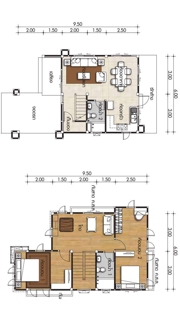 Small Home Design 6x9 5m With 2 Bedrooms Home Ideas Small House Design House Design Small House