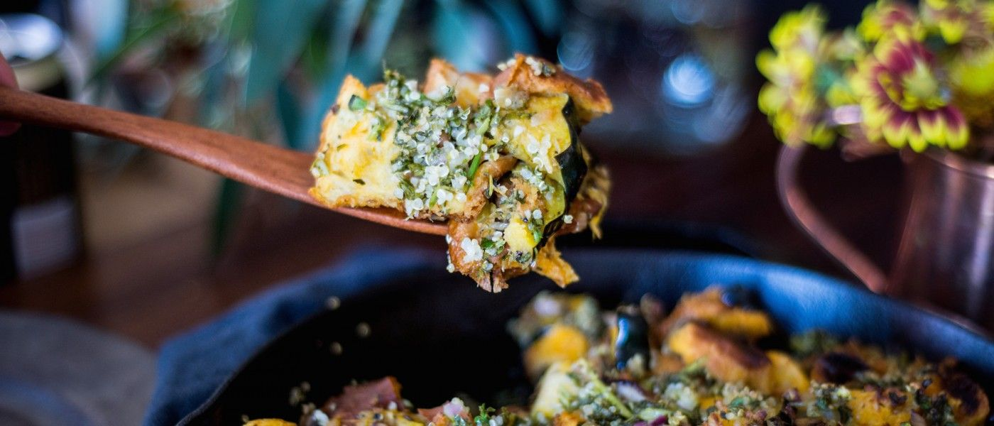 Jam-packed with vibrant seasonal flavors like delicate acorn squash, earthy mushrooms, and the cold-weather trifecta of rosemary, sage, and thyme. Oh, and challah bread — it's a revelat…
