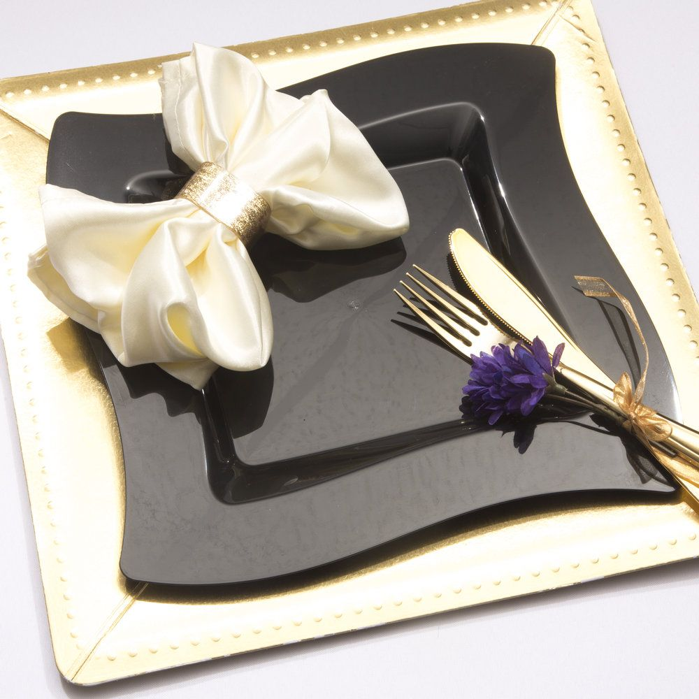 10 Gold Disposable Square Beaded Charger Under Plates | Bridal ...