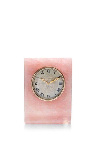 Pink marble, vintage Cartier desk clock