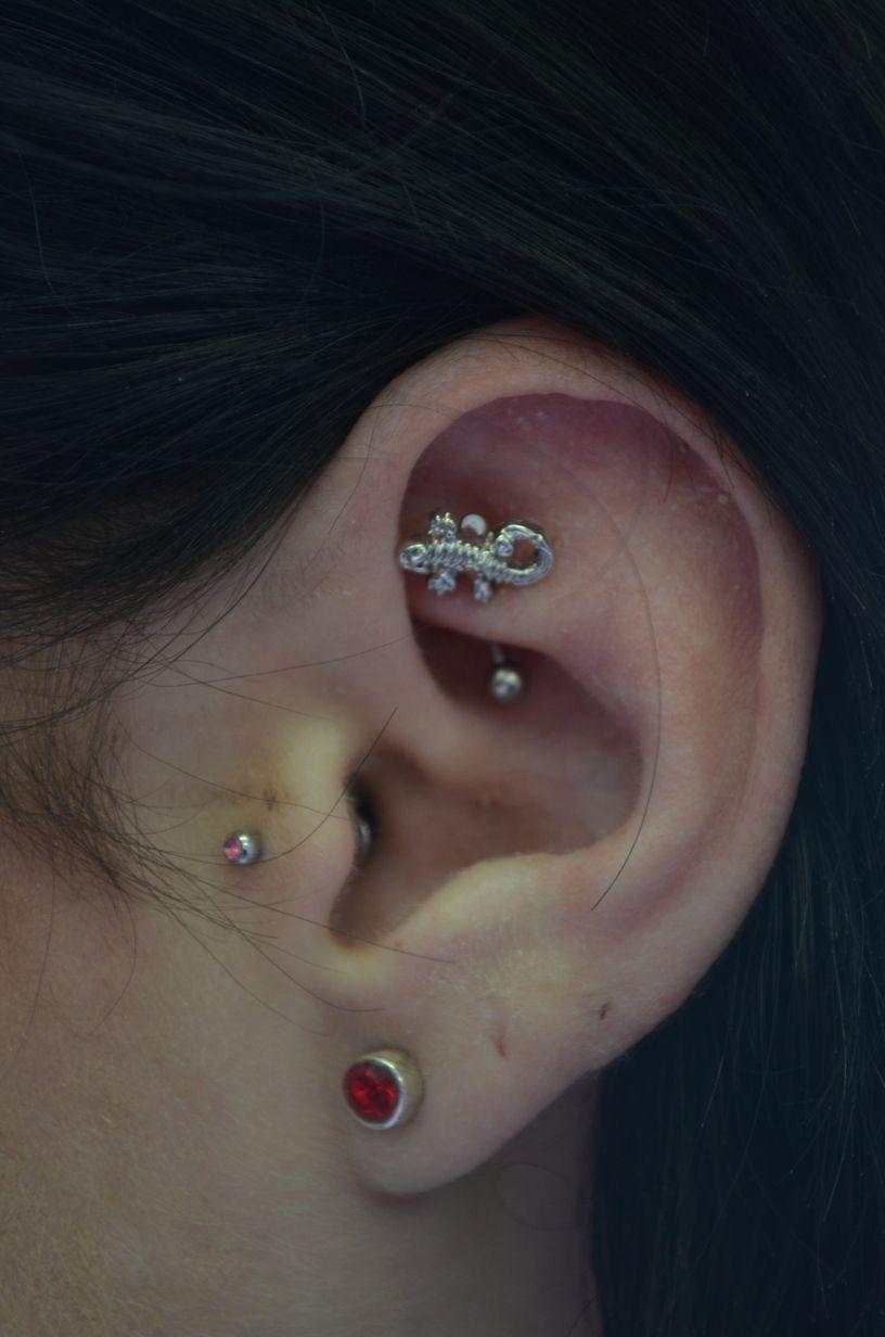 Nose piercing close up  rook piercing done by caroline rose  bartique body piercing studio