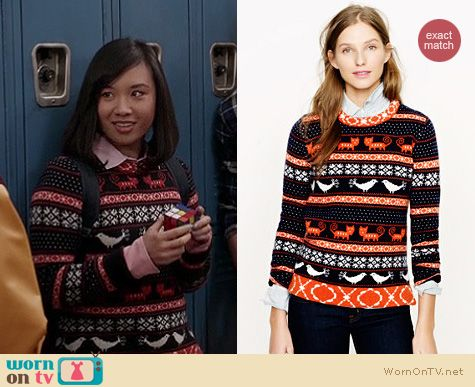 Jill/Mouse's cat and bird fair isle sweater on The Carrie Diaries ...