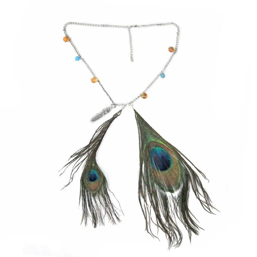Liquidation Channel - Affordable Peacock Feather, Orange and Blue Glass Bead Necklace (18 in) in Stainless Steel Findings in Silvertone