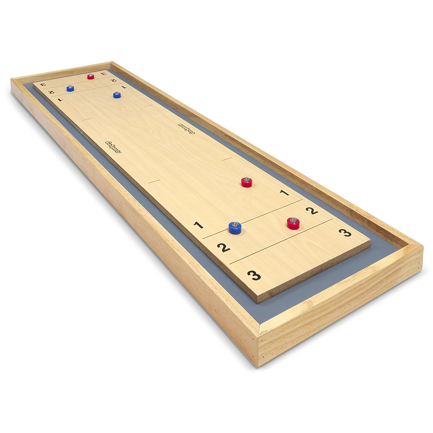 GoSports Shuffleboard and Curling 2 in 1 Table Top Board Game with 8 Rollers NEW
