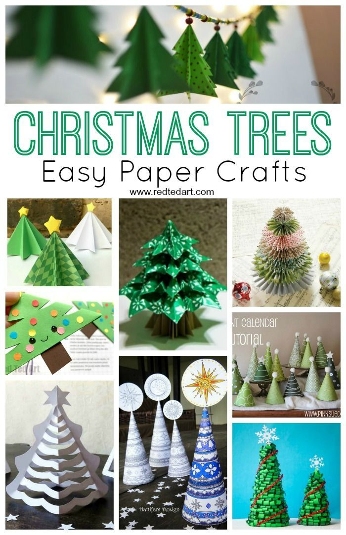Easy Christmas Tree Crafts For Kids Red Ted Art Make Crafting With Kids Easy Fun Christmas Tree Crafts Paper Christmas Tree Simple Christmas Tree