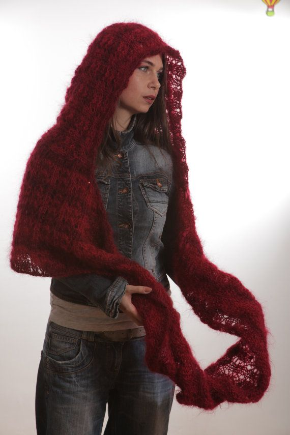 Hand Knitted RED Circled Mohair SCARF with Hood, Hooded Scarf, Infinity Scarf...