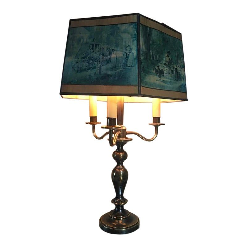 1940s Brass Three Candle Table Lamp With Victorian Scenes Polygon Paper Shade In 2020 Candle Table Table Lamp Lamp