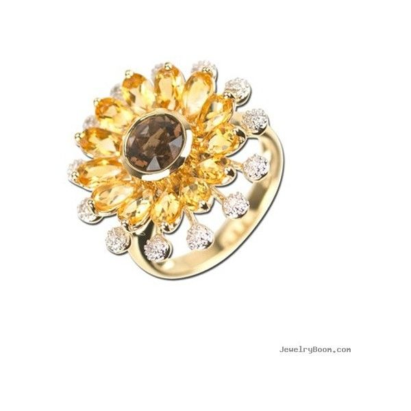 14k yellow gold citrine smoky topaz sunflower ring with diamonds liked on polyvore featuring jewelry
