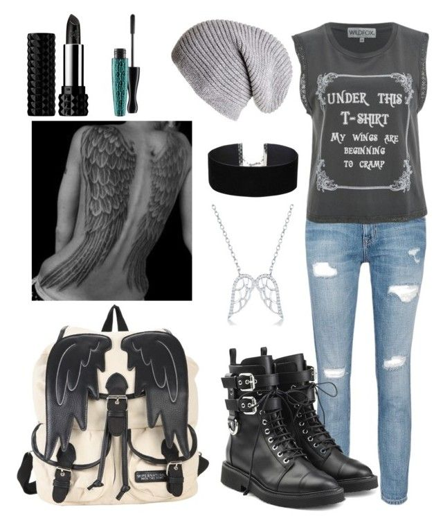 """""""Under this t-shirt, my wings are beginning to cramp"""" by gamergirl45723 ❤ liked on Polyvore featuring Current/Elliott, Wildfox, Giuseppe Zanotti, Divine Silver, Miss Selfridge, Kat Von D and MAC Cosmetics"""