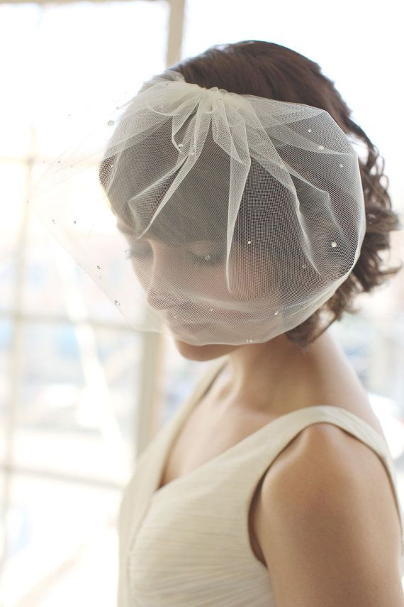 Blusher Veil, Scattered Rhinestone Bridal Veil, Wedding Veil - MADE TO ORDER- Style 1014 on Etsy, $125.00