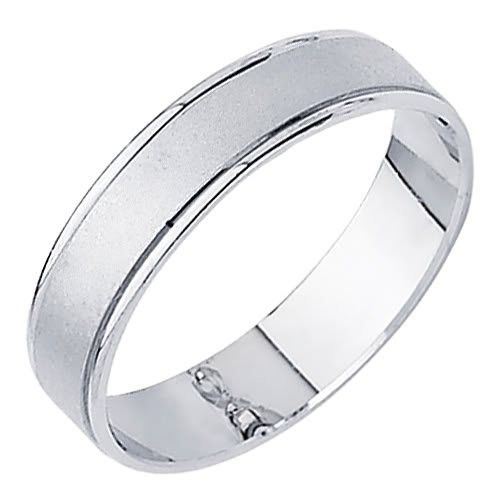 14k White Gold Matte Embossed Designer Wedding Band Ring For Men Women Size 12mens Rings