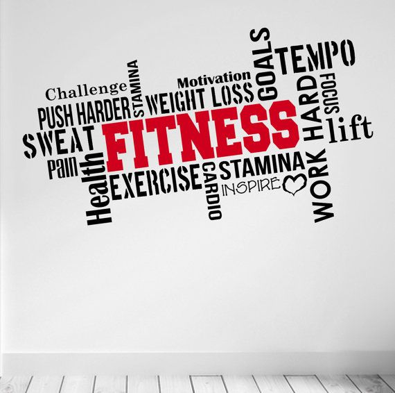 Pro design fitness wall decal word cloud quote colour