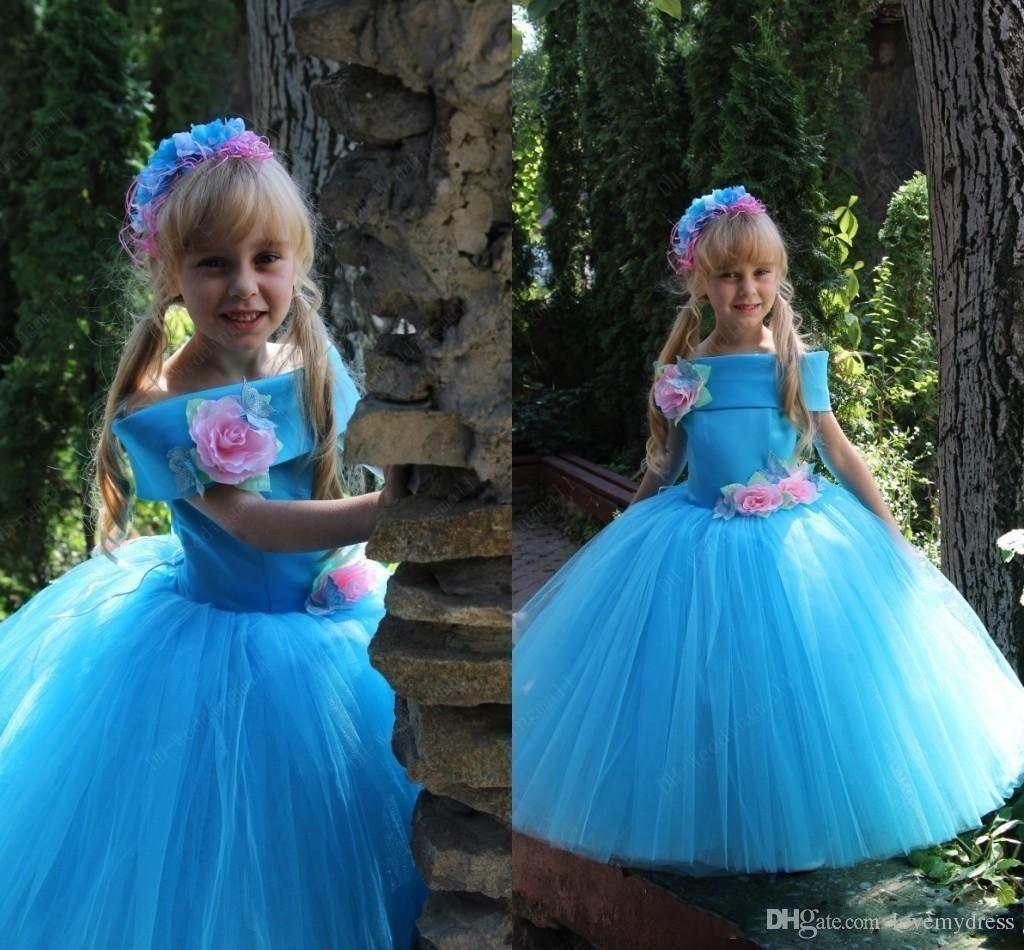 For wedding girls dress cheap light blue off shoulder neck unique error flower girl shoesgirls izmirmasajfo