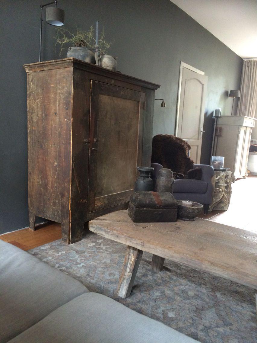 Sobere oude werkkast mix stoer landelijk industrieel for Kleuren woonkamer landelijk